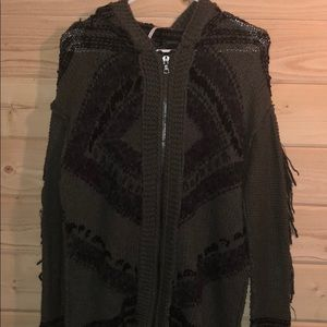 Free People Zip Hooded Sweater With Fringe